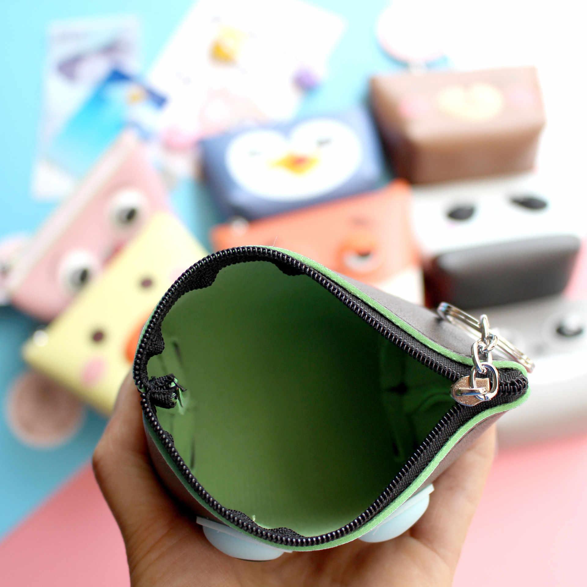 Criativo versão Coreana bonito dos desenhos animados de couro Pu mini Bolsa Da Moeda Bolsa Das Mulheres Zíper moeda chave bolsa coletora de chave anel