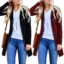 Women Spring Autumn Button Knitted Cardigan Ladies Casual Long Sleeves Outwear Overcoat