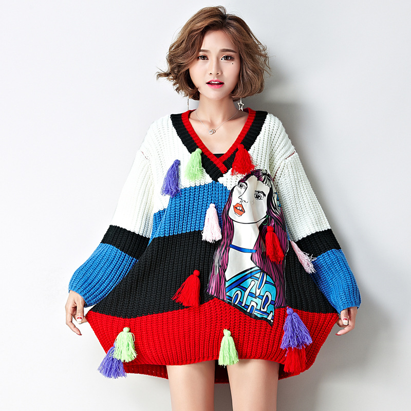 Long Womens Sweaters 2019 Winter Lady's Oversized Runway Harajuku Sweater for Women Kawaii Color Block Christmas Jumper Pullover