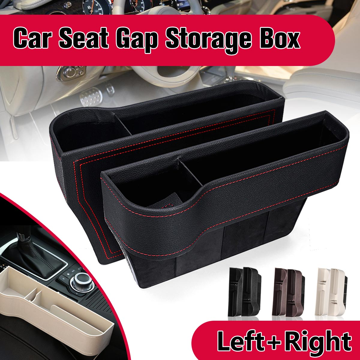 Pair Left and Right Car Seat Crevice Gaps Storage Box ABS Plastic Auto Drink for Pockets Organizers Stowing Tidying Universal