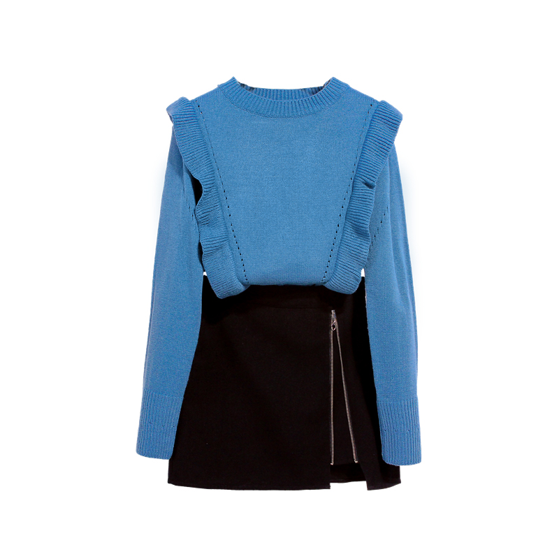 2019 Spring Blue Sweater Winter 7 Black Zipper New Skirts Two Piece Women Outfit Design Vestido Clothing Set Knitwear Top Basic in Women 39 s Sets from Women 39 s Clothing