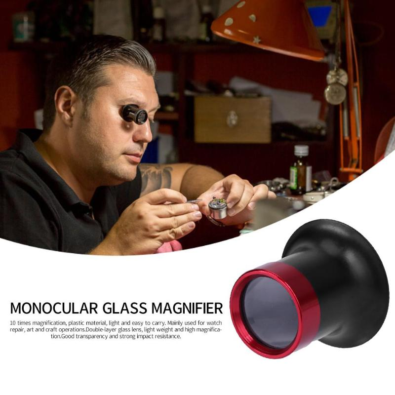 10X Metal Monocular Glass Magnifier Watch Jewelry Repair Tools Loupe Lens Professional Eye Optical Loop Magnifying Tool