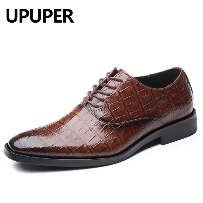 UPUPER Pointed Toe Mens Dress Shoes Classic Fashion Business Oxfords Shoes Men Leather Shoes Brown Black Big Size 38-48UPUPER Pointed Toe Mens Dress Shoes Classic Fashion Business Oxfords Shoes Men Leather Shoes Brown Black Big Size 38-48