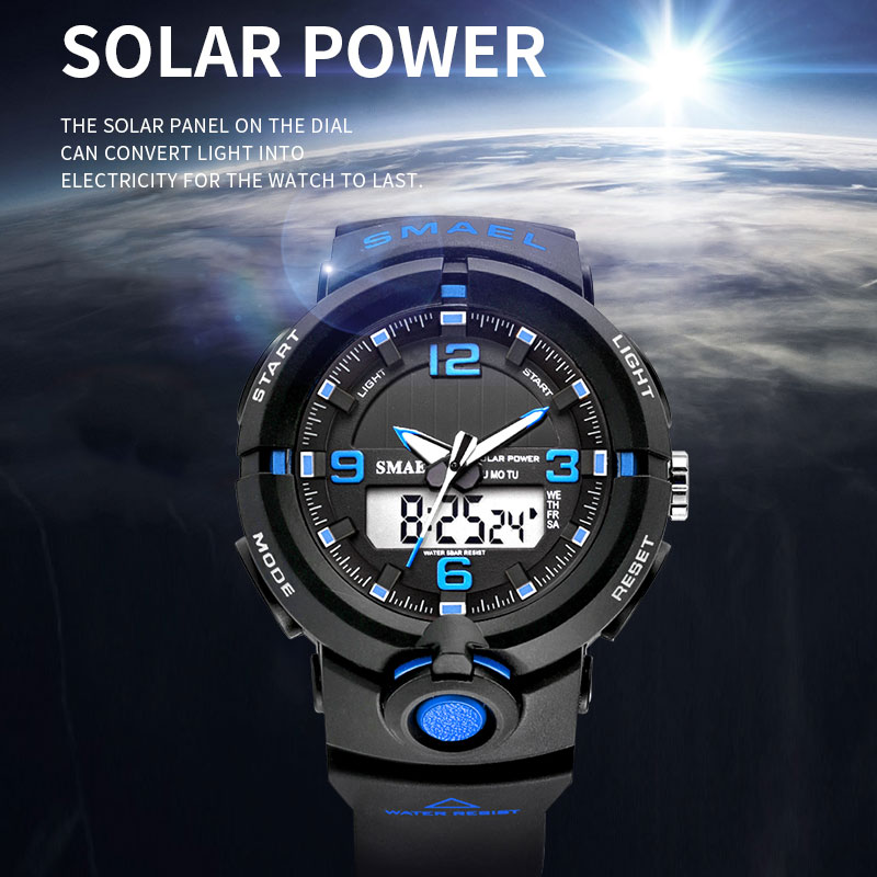 Solar Watch Digital SMAEL Men Watches Waterproof Clock Men Luminous Hands Alarm Bracelet 8017 Solar Powered Digital Sport Watch