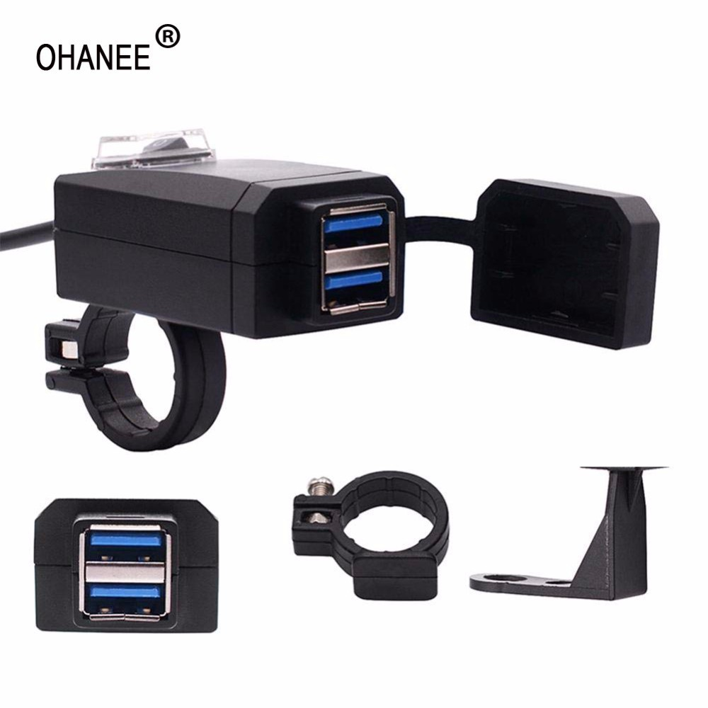 OHANEE QC3.0 Dual USB Motorcycle Charger Moto Quick Charger Adapter Motorbike 12V Power Supply For Iphone Samsung Phone GPS