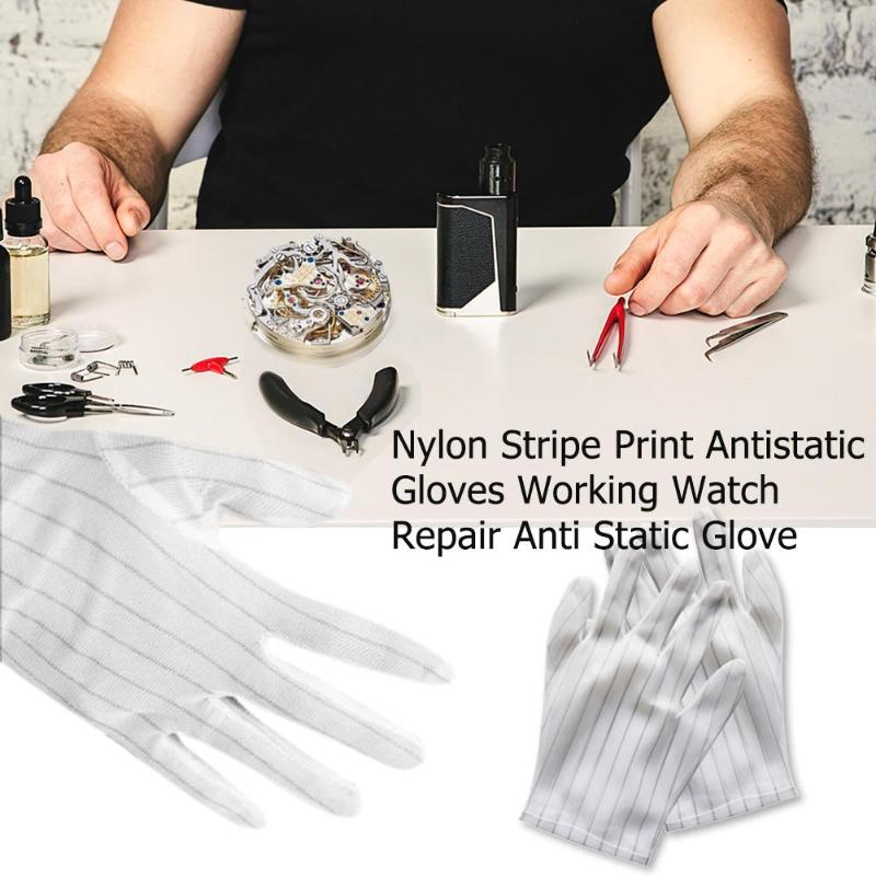 1pair Antistatic Gloves Electronic Working Gloves Watch Repair Anti Static Glove Antiskid For Finger Protection