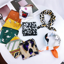 Fashion Korean professional Leopard Print Women Square scarves Spring Summer New Silk Scarf