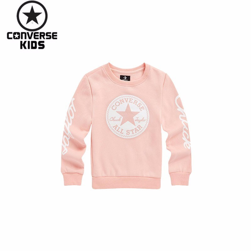 CONVERSE 3 Paper 18 New Product Children's Girl Autumn Clothing Pattern Increase Down Round Neck Sweater #83122HO354 black round neck embroidery pattern sweatshirt