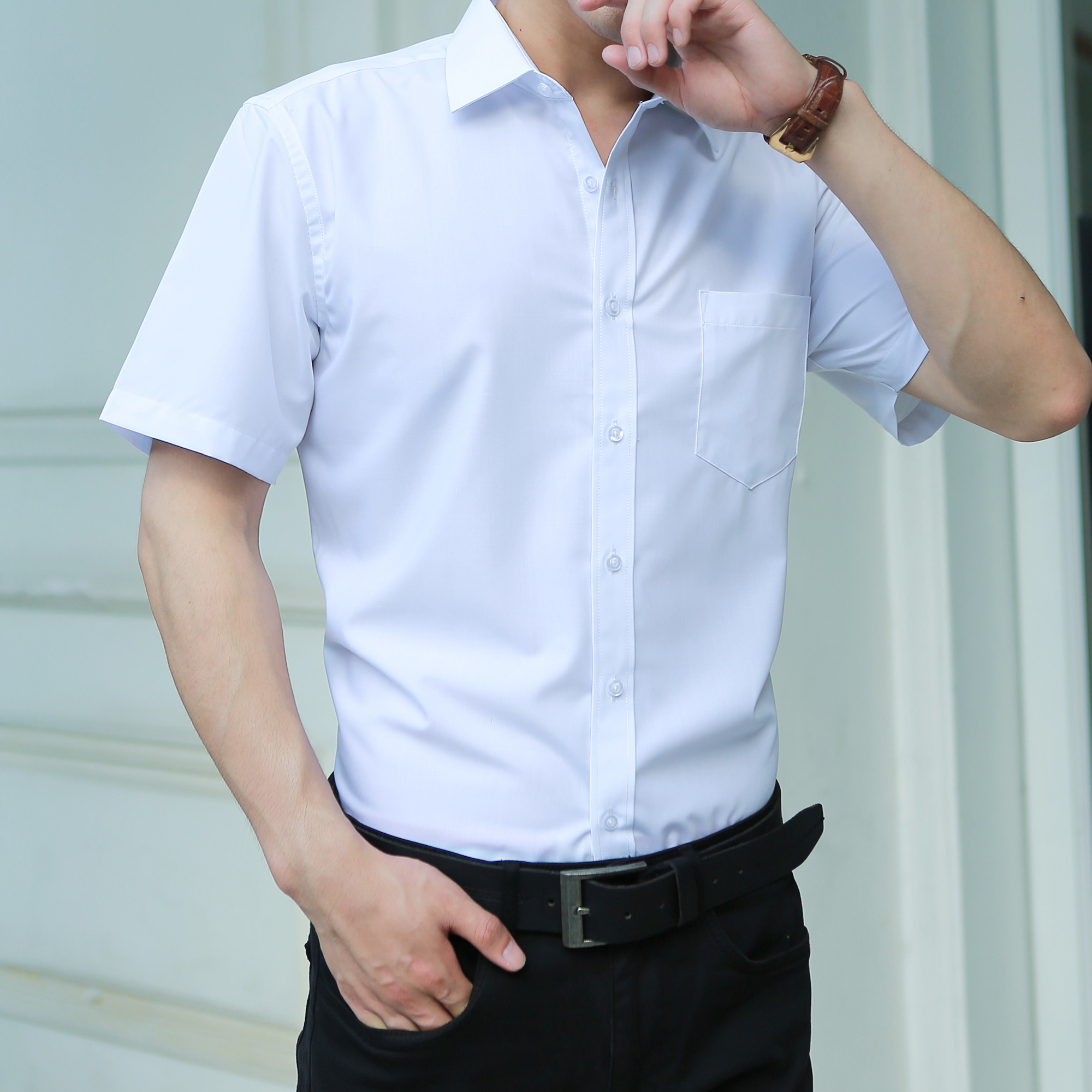 2019 Summer Short Sleeve Men Shirt Increase Fertilizer Solid Color Casual Slim Fit Tops Plus Size Hot Sale
