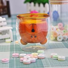 Инновационная стеклянная чашка с медведем, двухслойная, свежая мода, боросиликатное стекло, прозрачная чашка для вина, кофе для семьи, вечеринок и баров