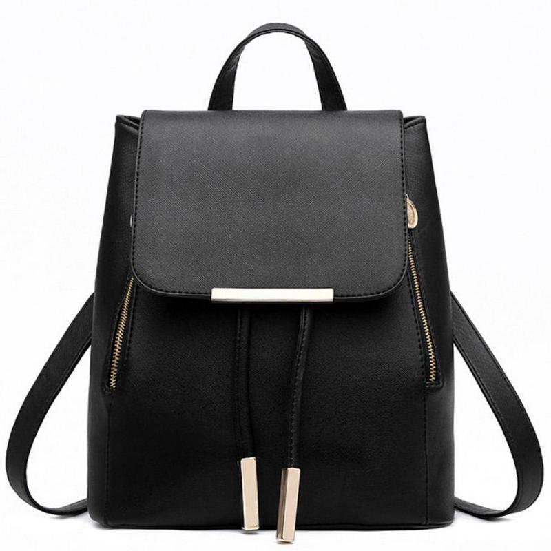 Fashion Female PU Leather Black School Supplies Backpack Japanese Street Bag Women's School Bag For Adolescent Girls Backpacks