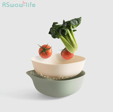 Double fruit and vegetable drain basket kitchen household plastic filter fruit basket for Kitchen storage products цена 2017