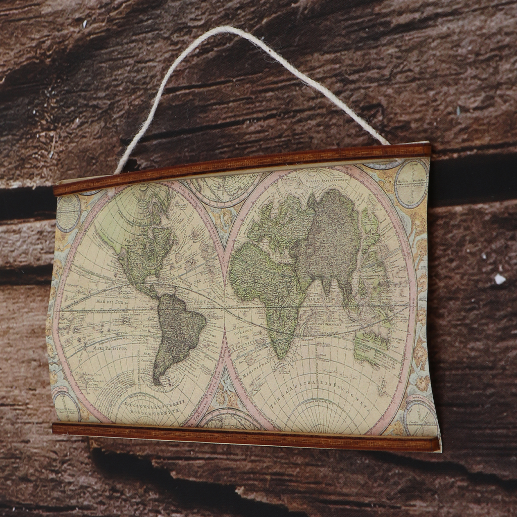Miniature Ancient Big Map for 1:6 1:12 Scale Dollhouse Room Wall Decoration