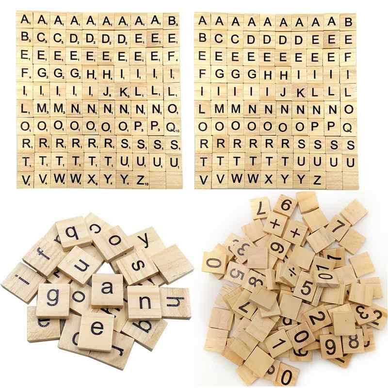 Wooden Scrabble Tiles Black Letters Numbers For Crafts Wood Alphabets Baby Children's Early Education Learning Toys 100PCS/Pack