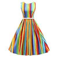 30% OFF Rainbow Stripe Sleeveless Large Size Women's Long Sexy Dress Ropa al por Mayor without Sleeve Dress Vestidos Alibaba
