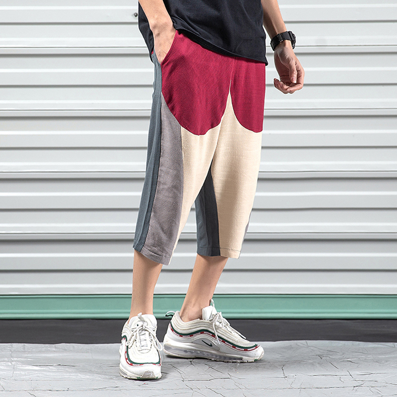 Cropped Pants Loose Joggers Street-Trend Contrast-Color Straight Summer Casual Fashion
