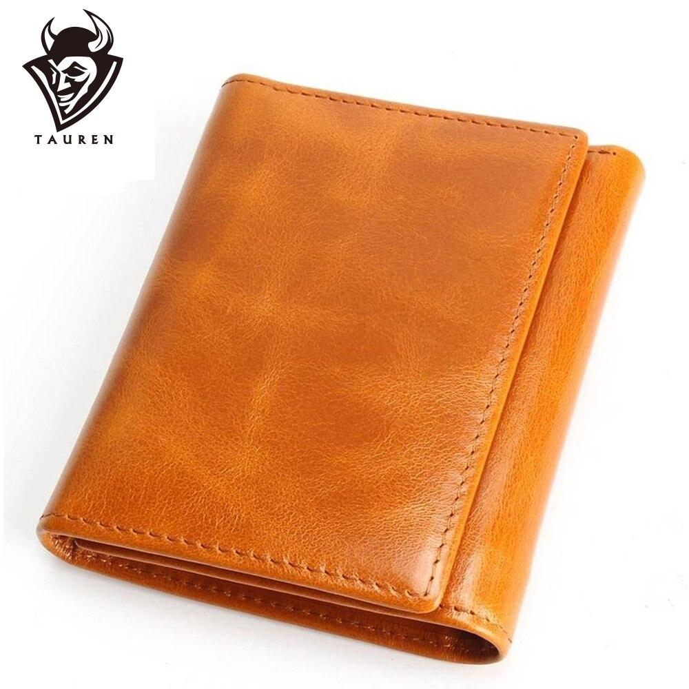 100% Women Genuine Leather Wallet Oil Wax Cowhide Purse Woman Vintage Lady Clutch Coin Purses Card Holder Carteira Feminina