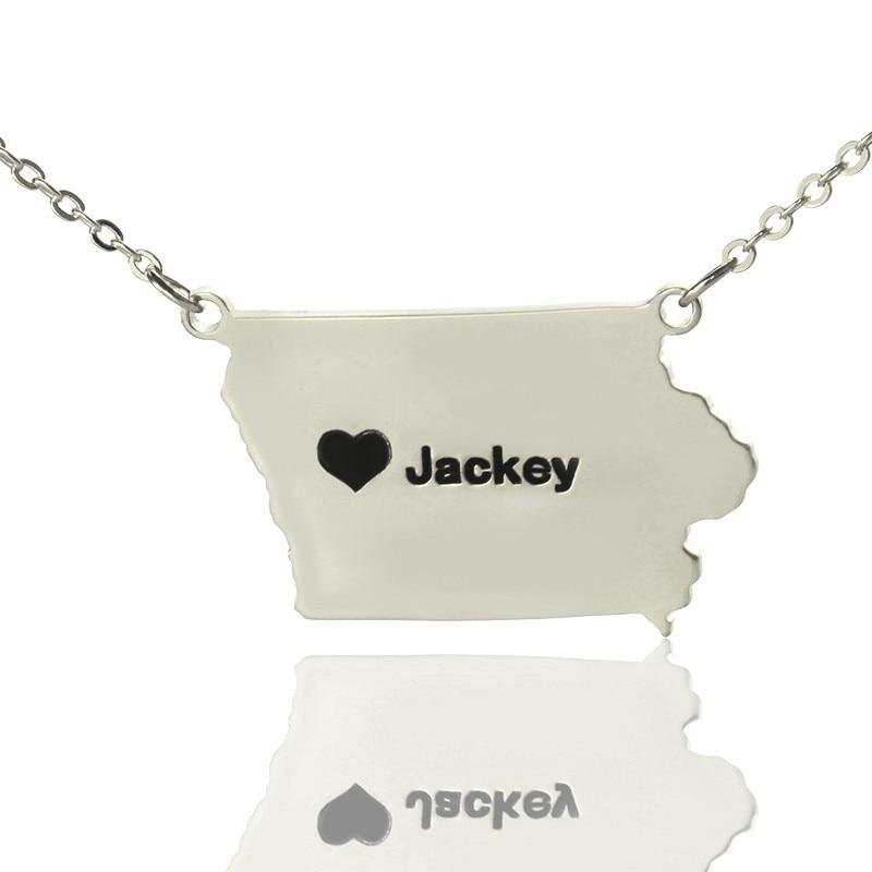 NºPlata personalizada Amuletos estado Collares Iowa State en forma ...