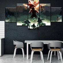 5 Panel HD Print Painting Attack on Titan Modern Decorative Paintings Canvas Wall Art for Home Decorations Decor Artwork