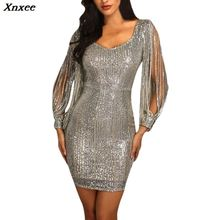 Spring Winter Women Sexy Mini Dress Long Sleeve V Neck Bodycon Sex Party  Club Dresses Ladies 523315349c69