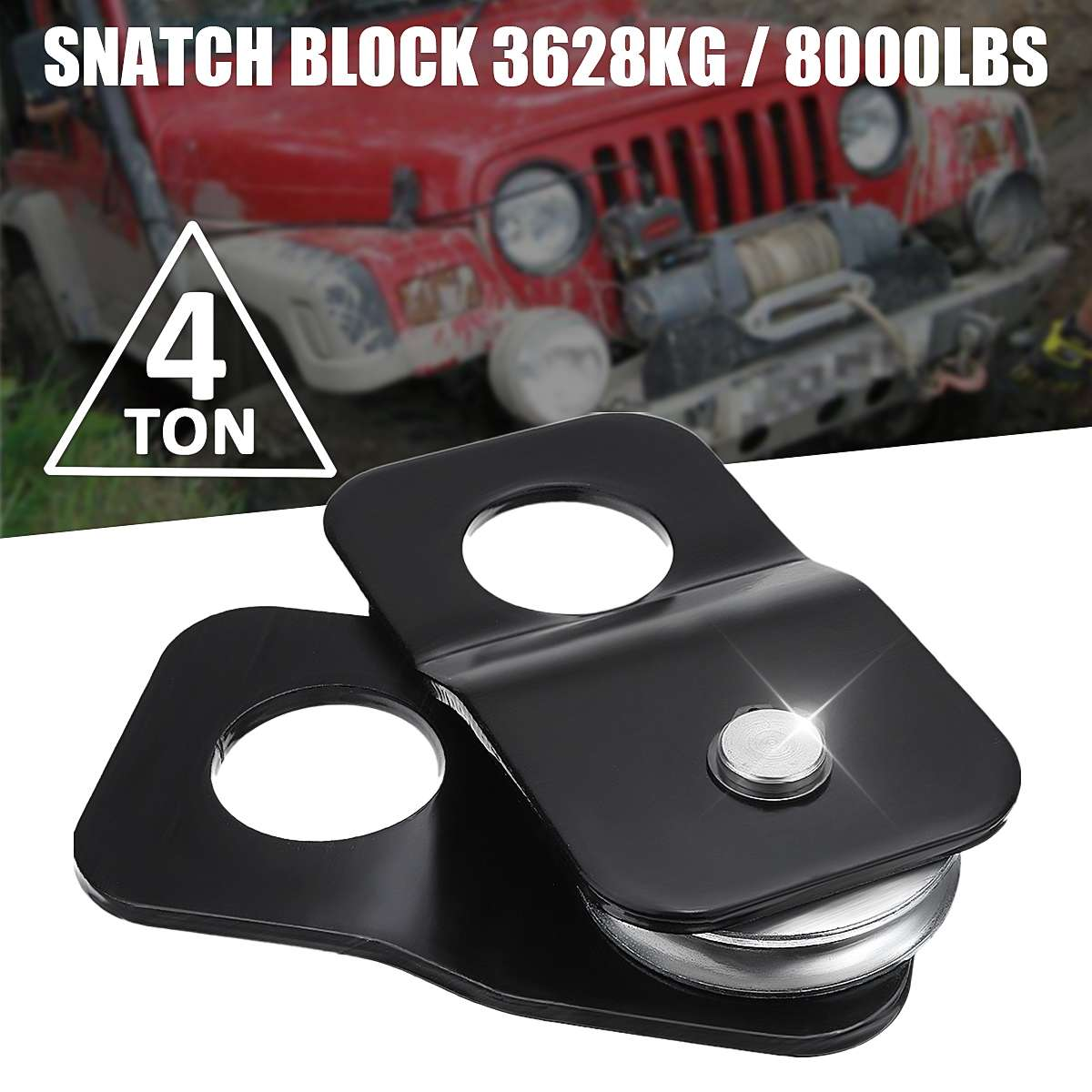 Autoleader Heavy  4 Ton Tonne Snatch Block Pulley Capacity Recovery Winch Pulley Black 146mm X 77mm X 35mm