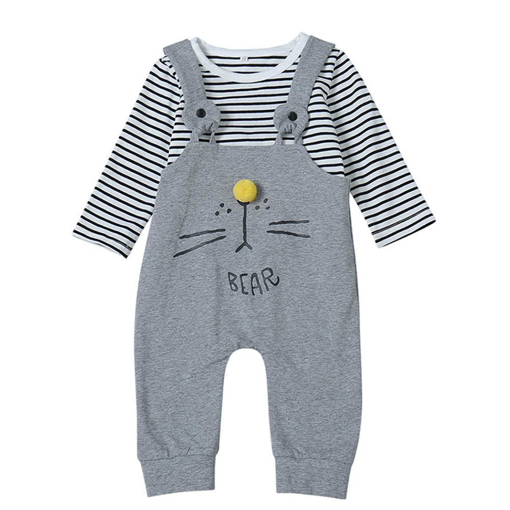 Brand toddler Baby boys girls long sleeve clothes cotton cartoon print romper gray striped jumpsuit outfit Casual