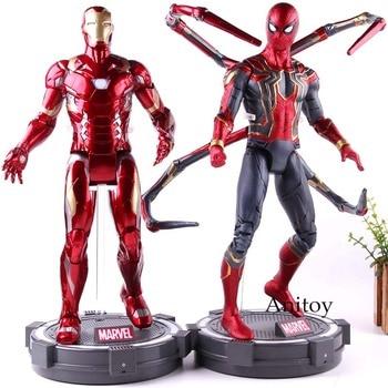 Marvel figura de acción de Capitán América guerra Civil vengadores Infinity War Hombre de Hierro hombre araña juguetes de modelos de colección con luz LED