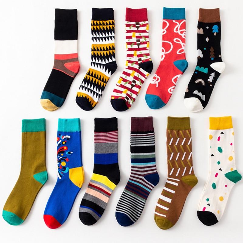 Men's Socks Men Socks Cartoon Christmas Tree Fireworks Geometry Stripe Happy Funny Harajuku Hip Hop Street Style Casual Skate Cotton Socks