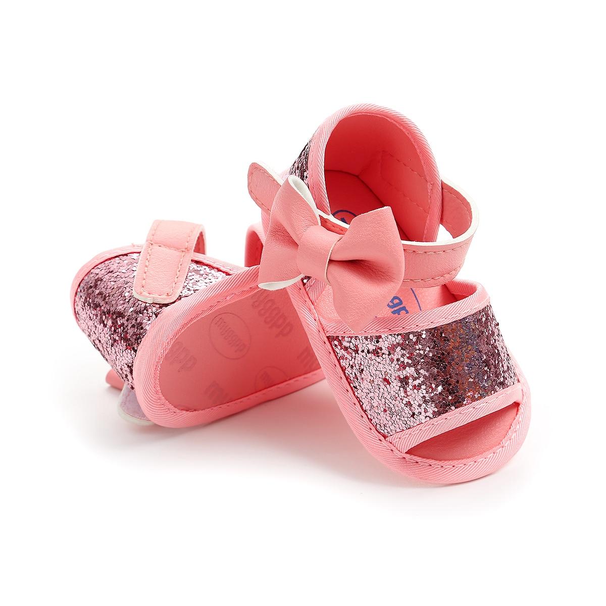 Baby Girl Sequins Sandals Princess Breathable Antiskid Leather Shoes Prewalkers