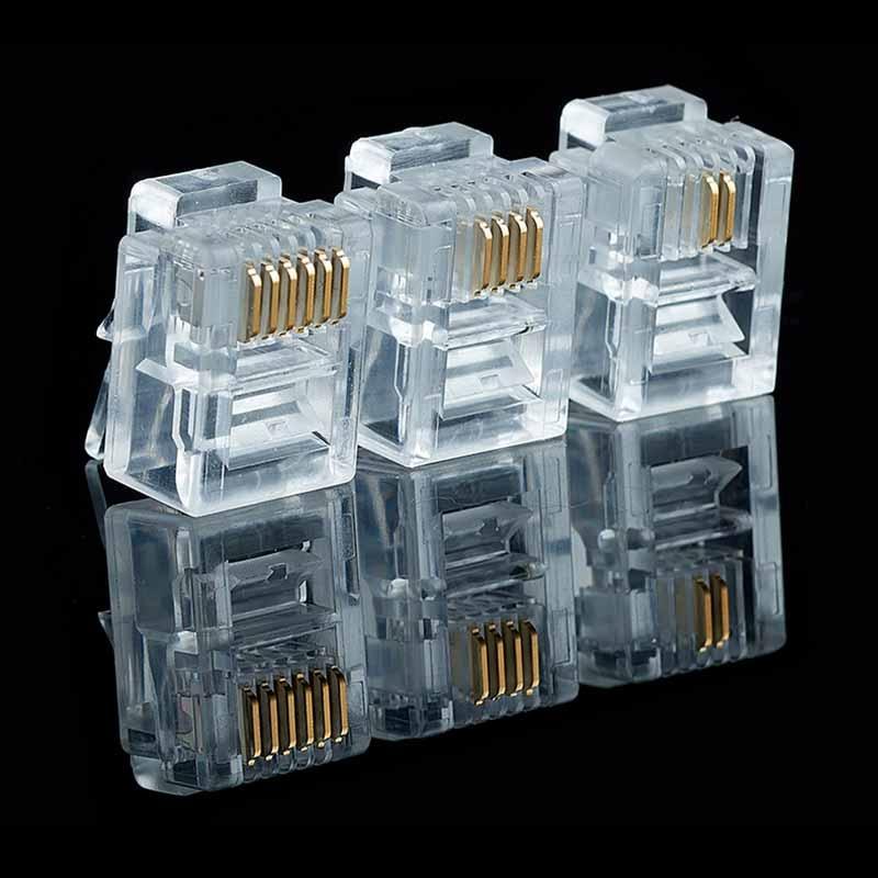 Telephone Modular Rj11-Connector Internet Plug-Jack 20/50/100pcs/lot 6P6C Rj-11-Crystal-Heads