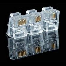 20/50/100 pçs/lote RJ11 6P2C 6P4C 6P6C Internet Telefone Modular Plug Jack Conector RJ 11 RJ11 Cabeças De Cristal Gold Plated 6U
