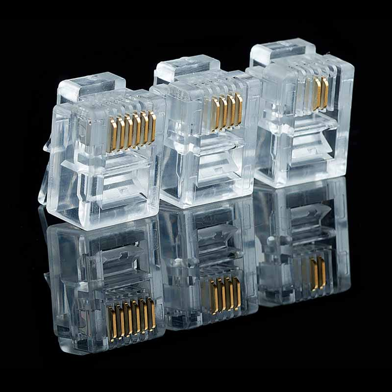 20/50/100PCS/lot RJ11 6P2C 6P4C 6P6C Telephone Internet Modular Plug Jack RJ11 Connector RJ-11 Crystal Heads Gold-Plated 6U