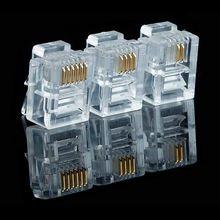 Lot de 20/50/100 connecteurs RJ11 à têtes en crystal plaqué or, 6P2C 6P4C 6P6C, modulaire, internet, RJ-11