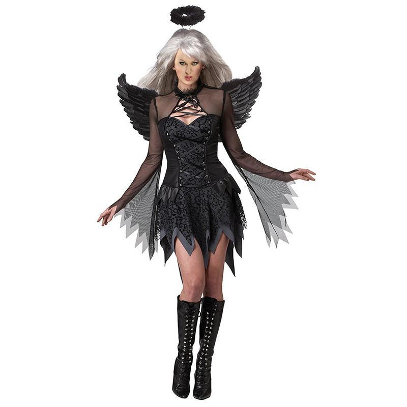 5f7a5cdf4c6 Крылья Ангела 2018 костюмы на Хэллоуин для женщин Фэнтези косплэй партии  нарядное платье взрослых Черный Fallen
