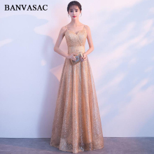 BANVASAC Sequined Sweetheart Lace A Line Long Evening Dresses Sexy Spaghetti Strap Sash Backless Party Prom Gowns