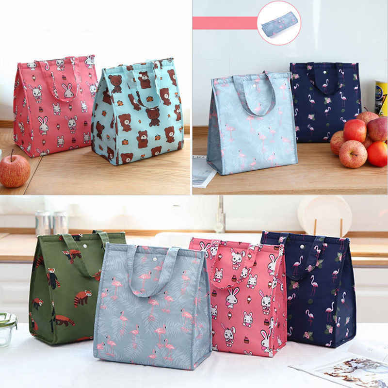 Cute Women Ladies Girls Kids Portable Insulated Lunch Box Bag Picnic Tote Cooler Cartoon Carry Tote Picnic Case Storage Bag