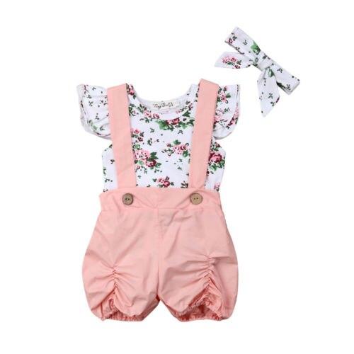 0-24 M Pasgeboren Baby Meisjes Bloemen Romper Tops Bib Broek Overalls Hoofdband Outfit Set