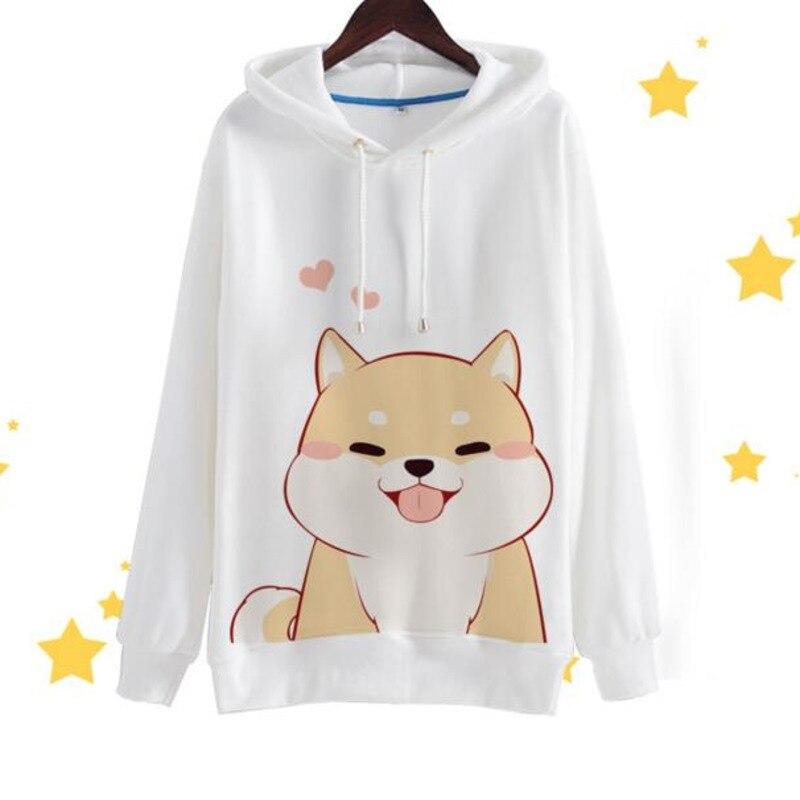 Осень Kawaii для девочек Флисовые толстовки хип хоп и в стиле «Harajuku» собака кофты прикольные shiba Inu Doge 3D принт Для женщин пуловер с капюшоном A9022
