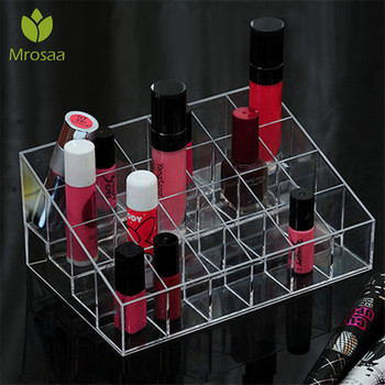 Hot 24 Grids Acrylic Makeup Organizer Cosmetic Box Storage Box Lipstick Jewelry Box Case Holder Display Stand Make Up Organizer