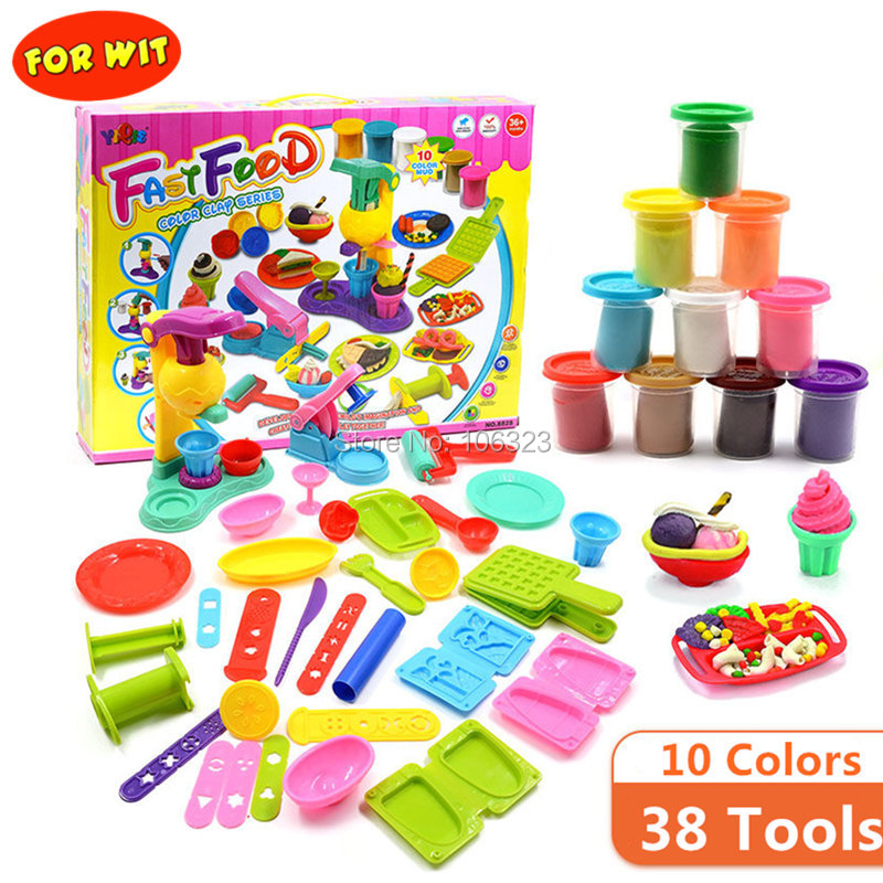 38 Tools 10 Colors Playdough Toys, Fast Food Center Colour