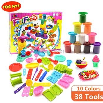 38 herramientas juguetes de plastilina de 10 colores, Centro de comida rápida juego de arcilla de color, desarrolla la imaginación de los niños, educación Ideal