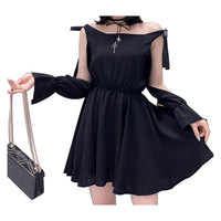 Punk Black Dress Elegant Women Sexy Waist Slim One Shoulder Split Mini Dress Casual Short Dress For Female