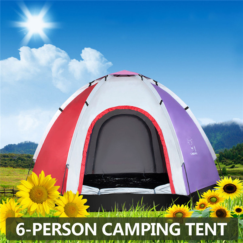 6 Person Outdoor Automatic Instant Tent Throwing Pop Up Hiking Fishing Camping Beach Tent Set Waterproof Large Tents