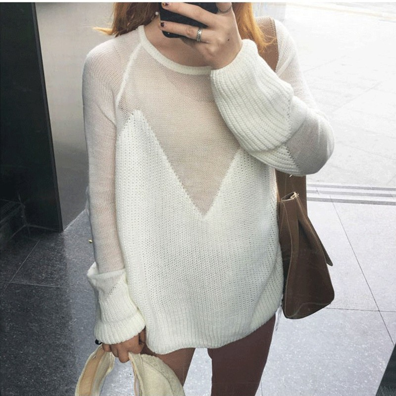 Fashion Knitting Sweater Korean Hollow Out Long Sleeve O Neck Women Thin Pullovers