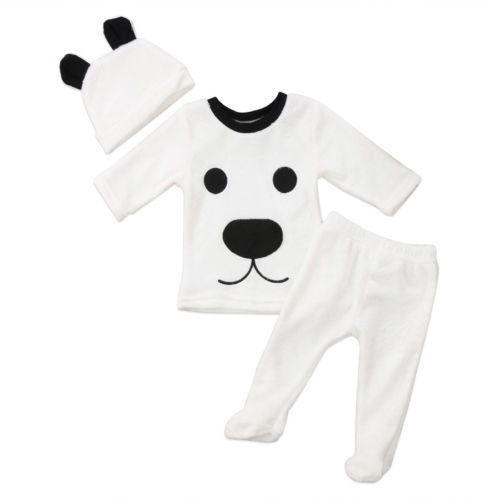 Outfits Pants Long-Sleeve Baby-Girl Boys 3pcs Newborn Top Hat Cute Warm Fluffy Little-Bear