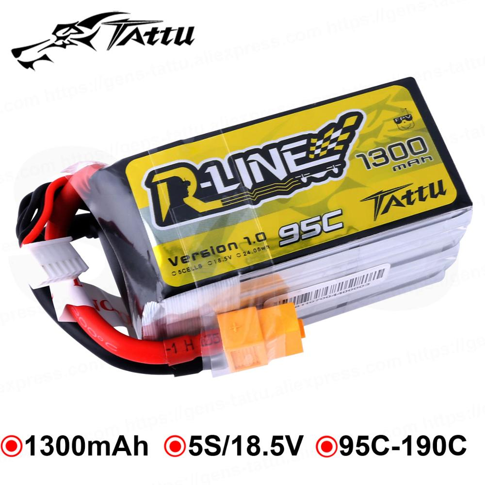 TATTU Lipo batterie 1300 mAh 95C course fait batterie Lipo XT60 Plug 5 S 18.5 V R ligne quadrirotor FPV hélicoptère batterie