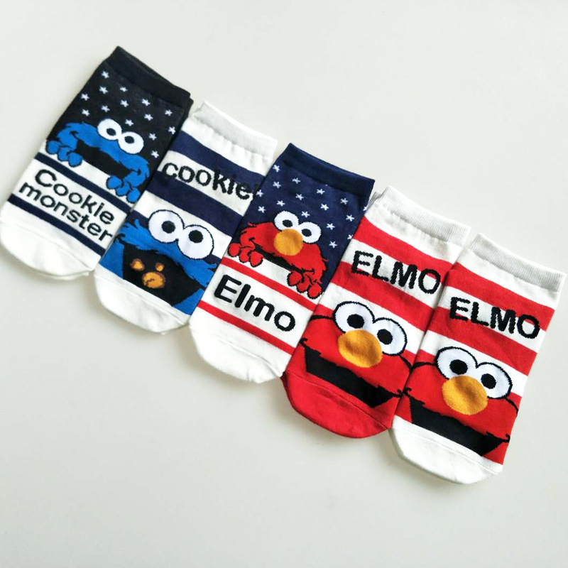 Cartoon Sesame Street Elmo   socks   Cookie Monster cute funny novelty personalized comfortable women cotton   sock   chaussette femme