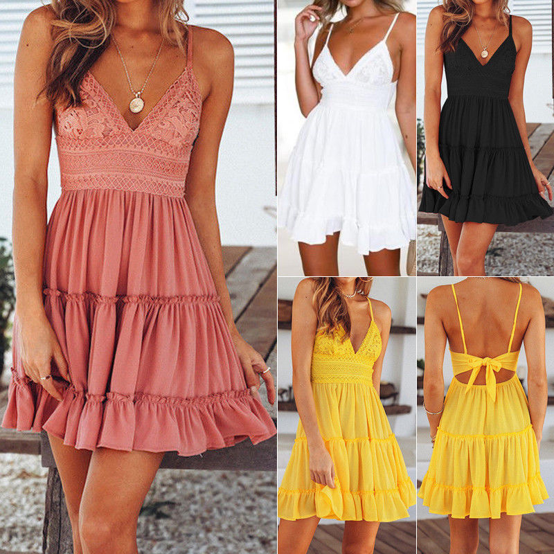 Hirigin Sexy Women Summer Lace Sleeveless Dress Evening Party Backless Bow Beach Sundress in Dresses from Women 39 s Clothing