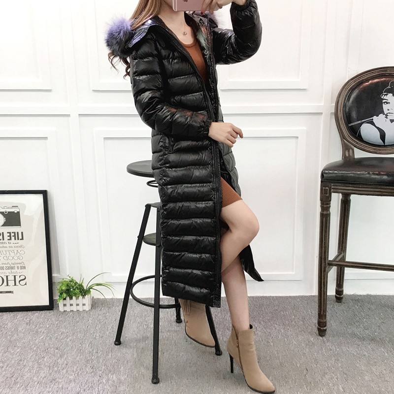 2018 Winter Jacket Silver Fox Fur Collar Plus Long Parka 90%   Down     Coat   Female Bright Hooded Thick Warm Slim Feather Outwear L273