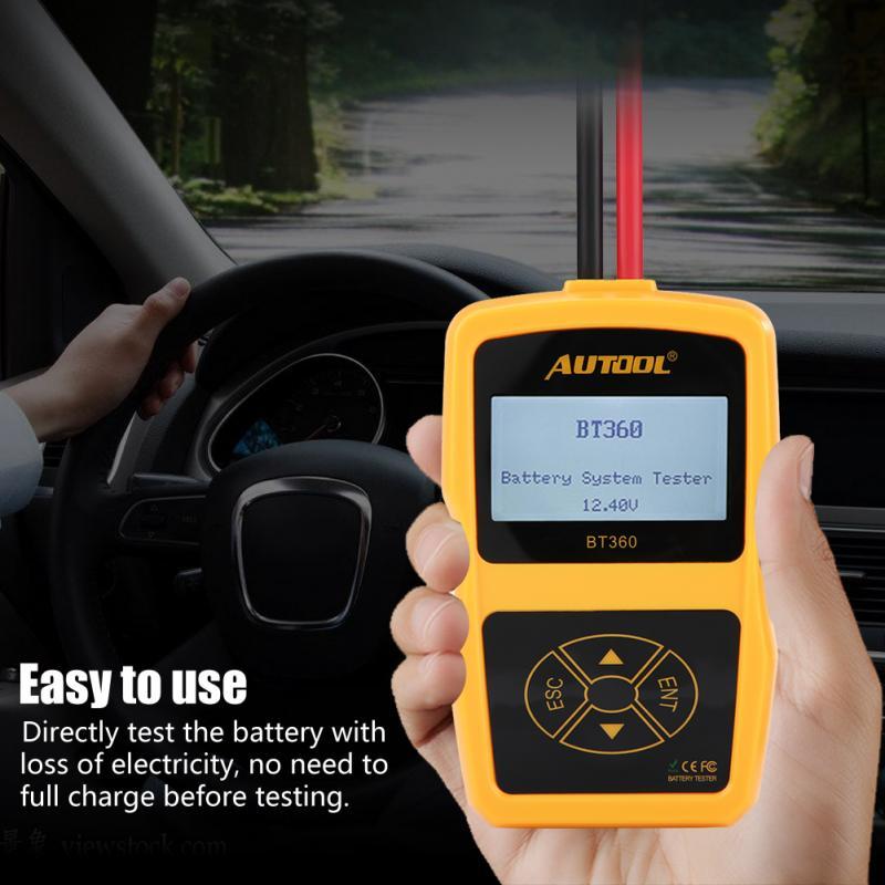 Testeur de batterie de voiture testeur de système de batterie de charge automobile analyseur numérique outil de Test de cellule testeur de charge multilingue BT360 - 2